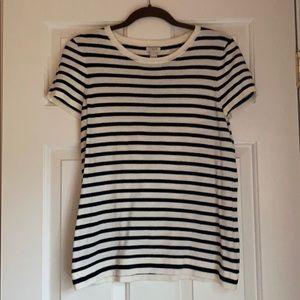 Jcrew striped shirt sleeve sweater